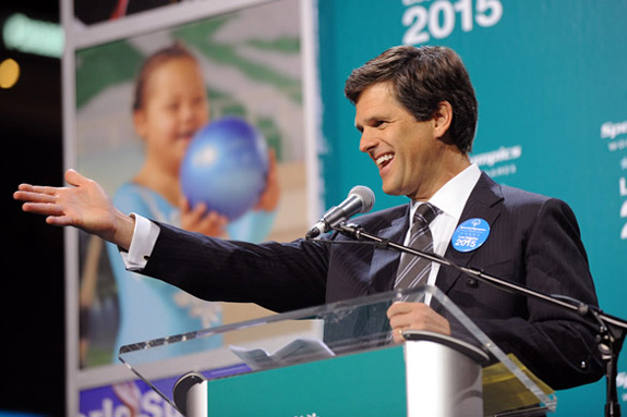 Special Olympics Chairman Tim Shriver announces that Los Angeles will host the organization's 2015 World Games. ESPN has agreed to broadcast the games on its networks and online. (Special Olympics)